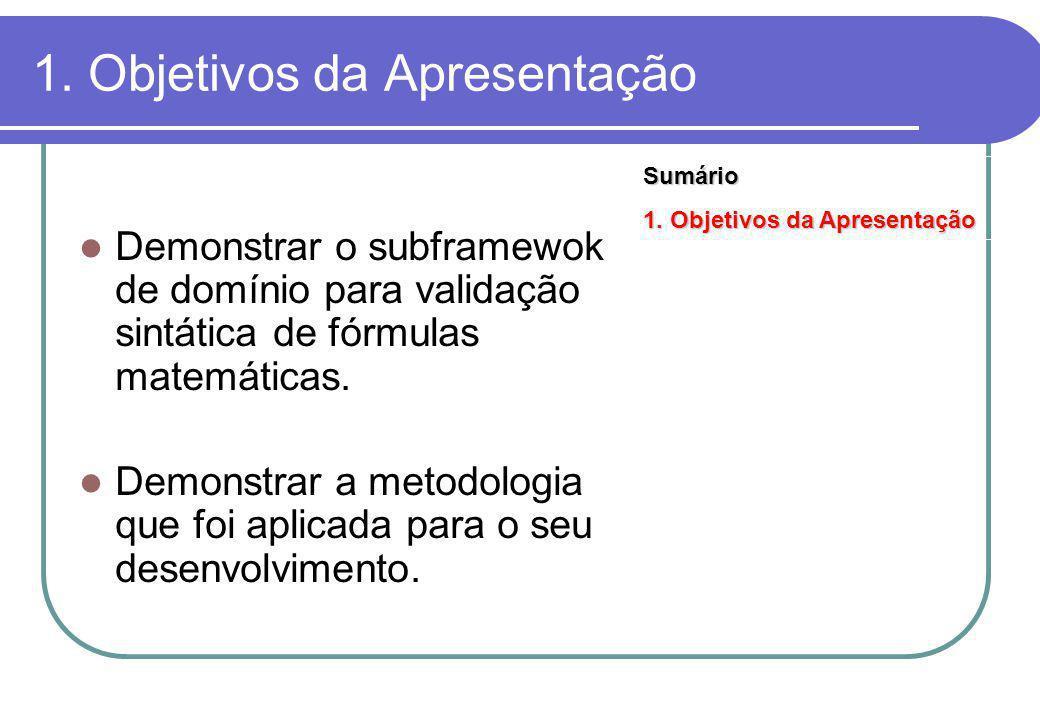 1. Objetivos da Apresentação Demonstrar o subframewok de domínio para validação sintática de fórmulas matemáticas. Demonstrar a metodologia que foi ap