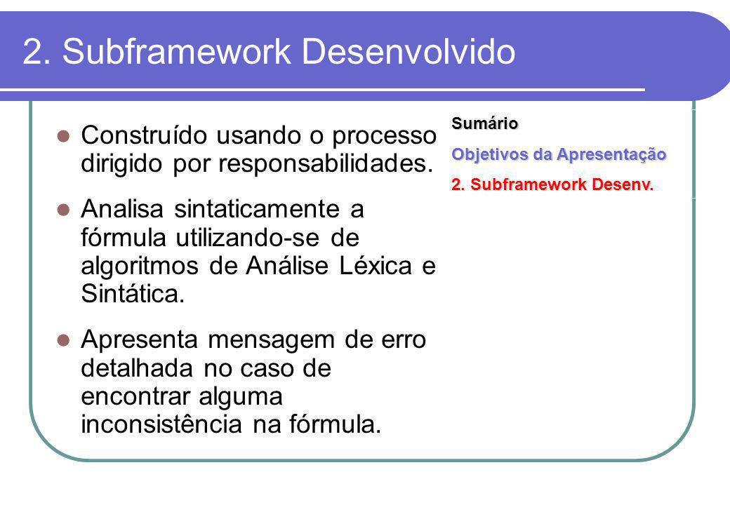 2. Subframework Desenvolvido Construído usando o processo dirigido por responsabilidades.