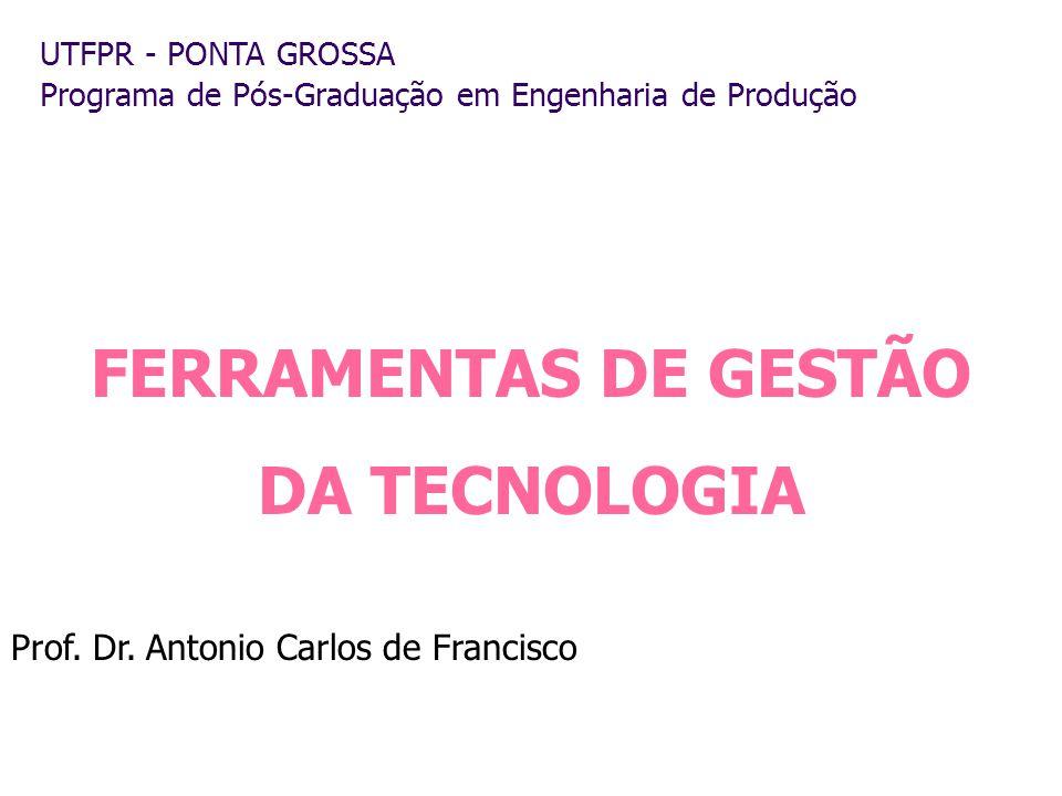 UTFPR - PONTA GROSSA Programa de Pós-Graduação em Engenharia de Produção Prof. Dr. Antonio Carlos de Francisco FERRAMENTAS DE GESTÃO DA TECNOLOGIA