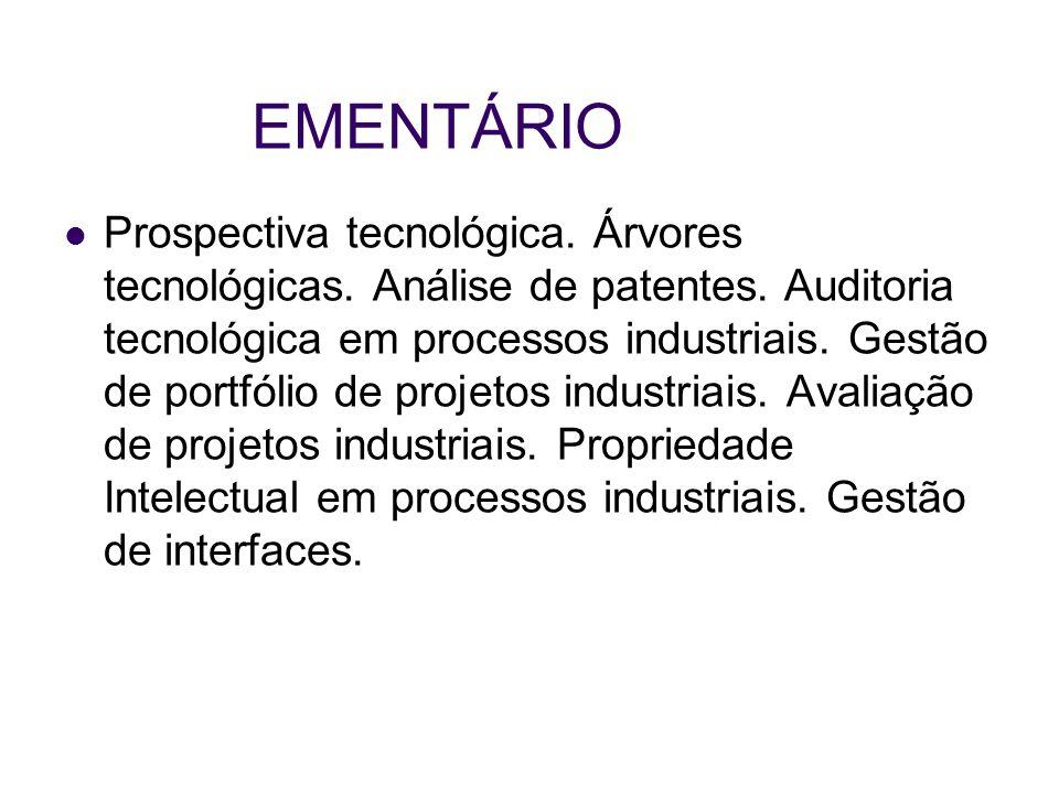 EMENTÁRIO Prospectiva tecnológica. Árvores tecnológicas. Análise de patentes. Auditoria tecnológica em processos industriais. Gestão de portfólio de p
