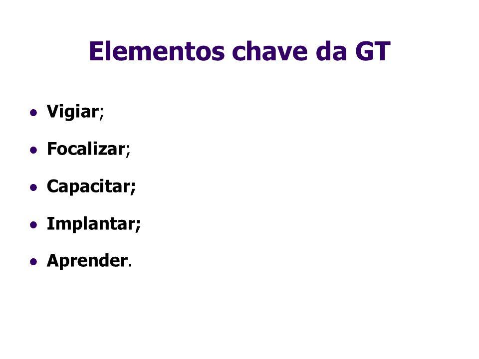 Elementos chave da GT Vigiar; Focalizar; Capacitar; Implantar; Aprender.