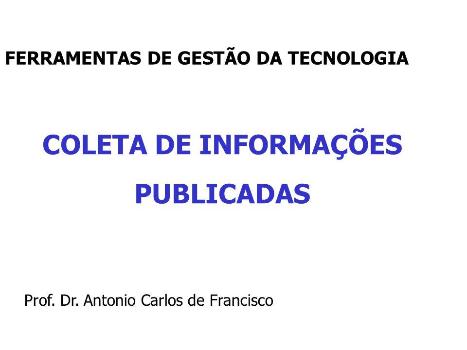 COLETA DE INFORMAÇÕES PUBLICADAS Prof.Dr.