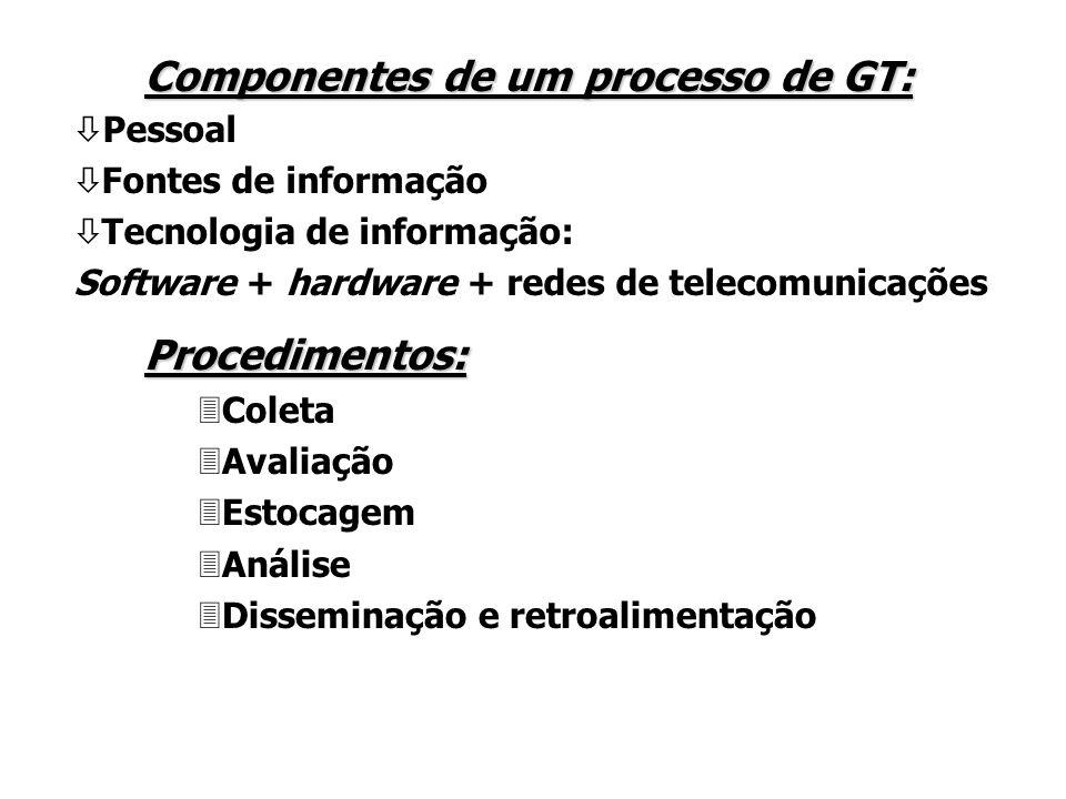 Componentes de um processo de GT: ò Pessoal ò Fontes de informação ò Tecnologia de informação: Software + hardware + redes de telecomunicações Procedimentos: 3Coleta 3Avaliação 3Estocagem 3Análise 3Disseminação e retroalimentação