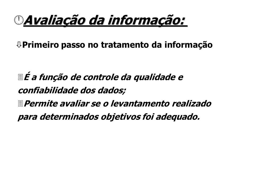 ò Primeiro passo no tratamento da informação AAAAvaliação da informação: 3É a função de controle da qualidade e confiabilidade dos dados; 3Permite avaliar se o levantamento realizado para determinados objetivos foi adequado.