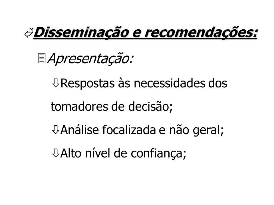 Disseminação e recomendações: Ã Disseminação e recomendações: 3Apresentação: ò Respostas às necessidades dos tomadores de decisão; ò Análise focalizada e não geral; ò Alto nível de confiança;