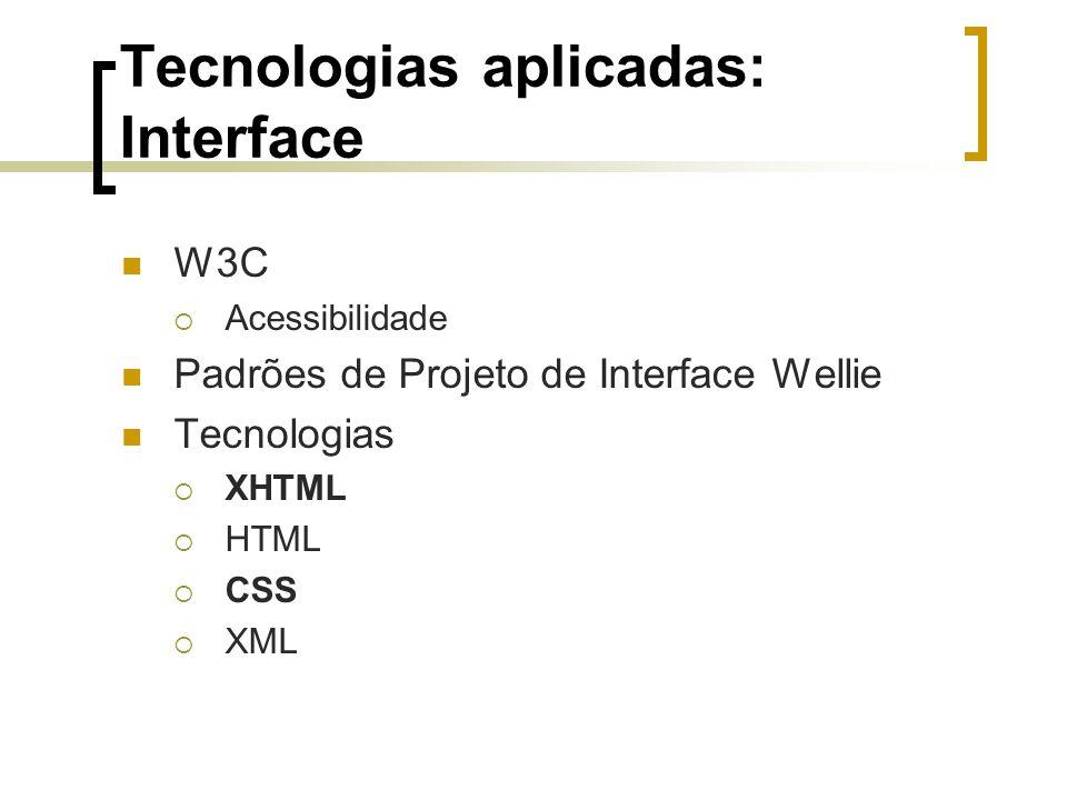 Tecnologias aplicadas: Interface W3C  Acessibilidade Padrões de Projeto de Interface Wellie Tecnologias  XHTML  HTML  CSS  XML