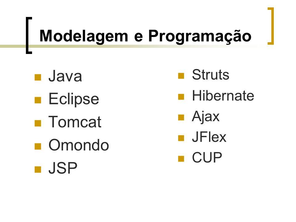 Modelagem e Programação Java Eclipse Tomcat Omondo JSP Struts Hibernate Ajax JFlex CUP