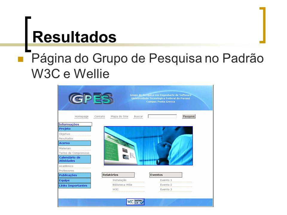 Resultados Página do Grupo de Pesquisa no Padrão W3C e Wellie
