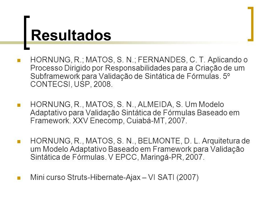 Resultados HORNUNG, R.; MATOS, S. N.; FERNANDES, C.
