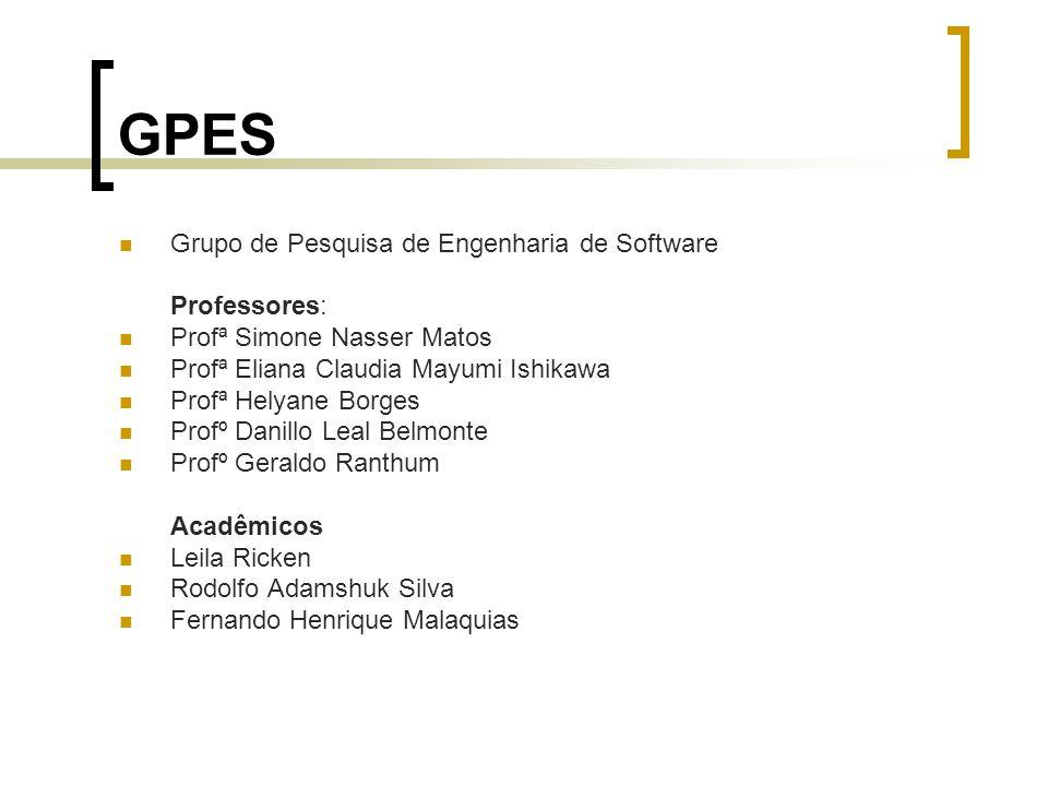 GPES Grupo de Pesquisa de Engenharia de Software Professores: Profª Simone Nasser Matos Profª Eliana Claudia Mayumi Ishikawa Profª Helyane Borges Prof