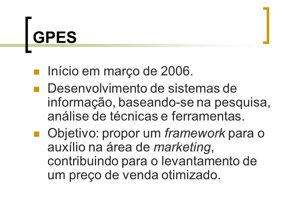 GPES Início em março de 2006. Desenvolvimento de sistemas de informação, baseando-se na pesquisa, análise de técnicas e ferramentas. Objetivo: propor