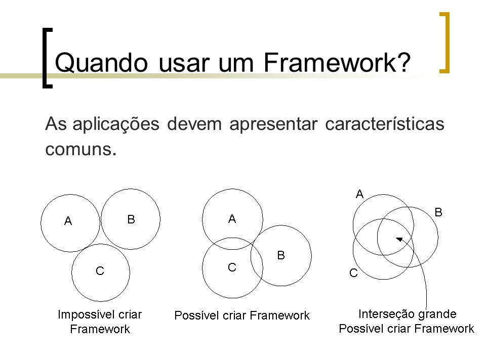 Quando usar um Framework As aplicações devem apresentar características comuns.