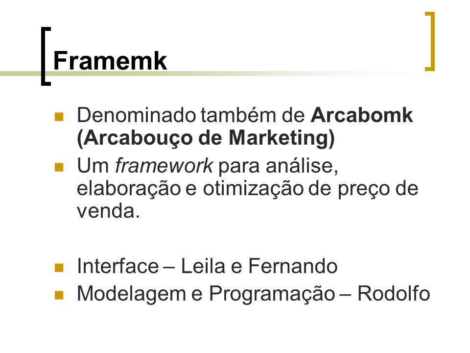 Framemk Denominado também de Arcabomk (Arcabouço de Marketing) Um framework para análise, elaboração e otimização de preço de venda.