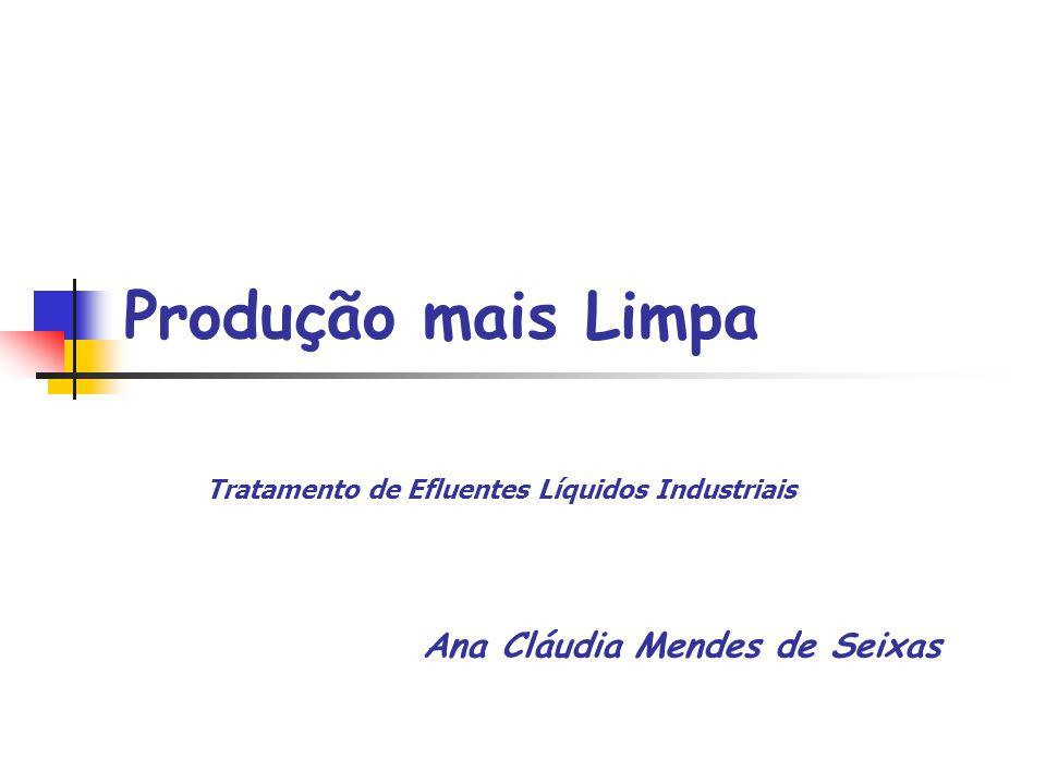 Produção mais Limpa Ana Cláudia Mendes de Seixas Tratamento de Efluentes Líquidos Industriais