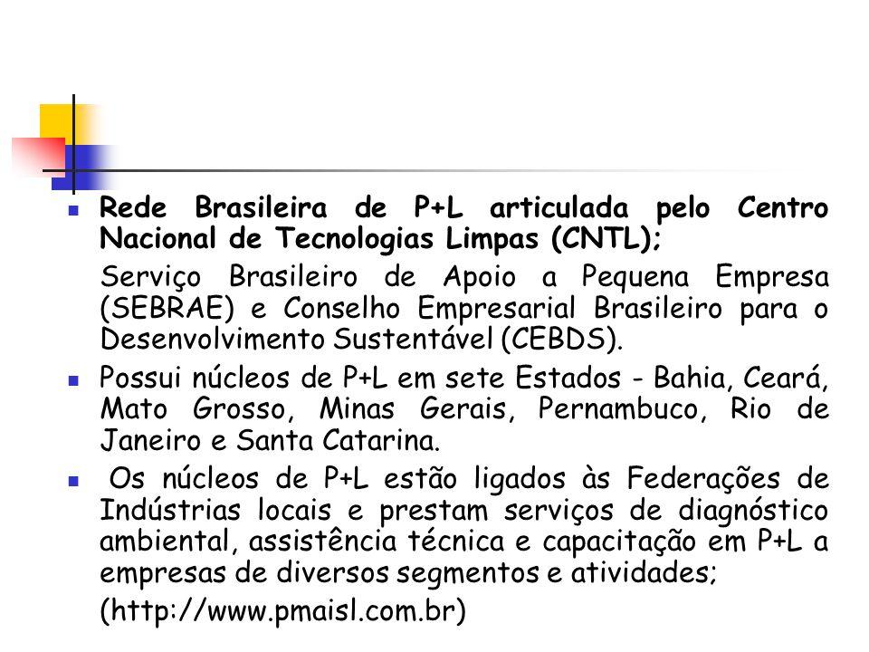 Rede Brasileira de P+L articulada pelo Centro Nacional de Tecnologias Limpas (CNTL); Serviço Brasileiro de Apoio a Pequena Empresa (SEBRAE) e Conselho