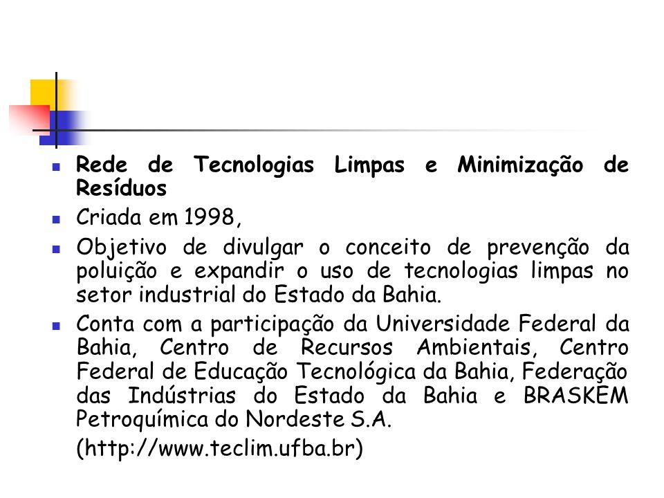 Rede de Tecnologias Limpas e Minimização de Resíduos Criada em 1998, Objetivo de divulgar o conceito de prevenção da poluição e expandir o uso de tecn