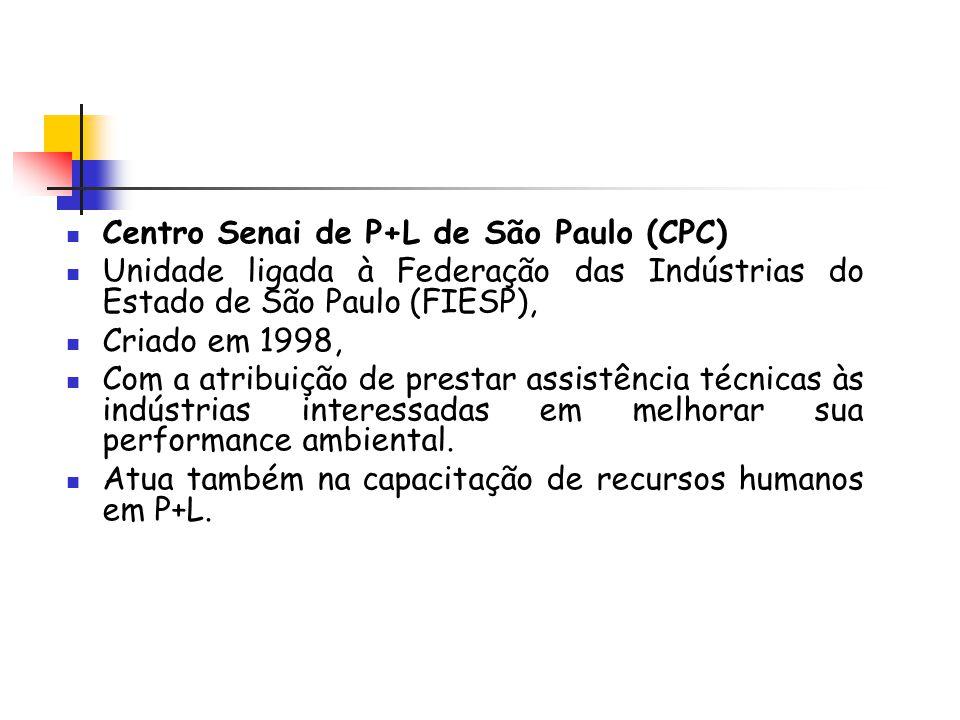 Centro Senai de P+L de São Paulo (CPC) Unidade ligada à Federação das Indústrias do Estado de São Paulo (FIESP), Criado em 1998, Com a atribuição de p