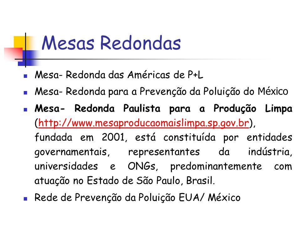 Mesas Redondas Mesa- Redonda das Américas de P+L Mesa- Redonda para a Prevenção da Poluição do México Mesa- Redonda Paulista para a Produção Limpa (ht