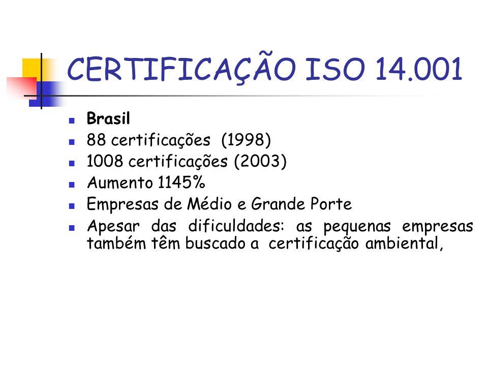 CERTIFICAÇÃO ISO 14.001 Brasil 88 certificações (1998) 1008 certificações (2003) Aumento 1145% Empresas de Médio e Grande Porte Apesar das dificuldade