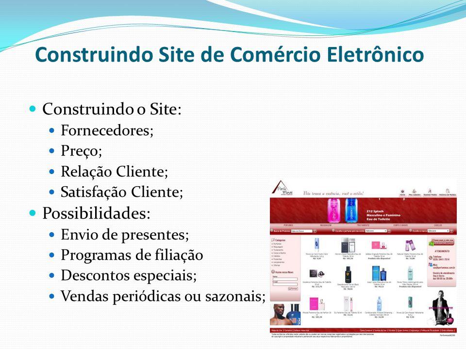 Construindo Site de Comércio Eletrônico Construindo o Site: Fornecedores; Preço; Relação Cliente; Satisfação Cliente; Possibilidades: Envio de present