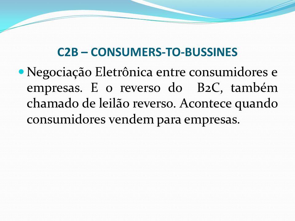 C2B – CONSUMERS-TO-BUSSINES Negociação Eletrônica entre consumidores e empresas. E o reverso do B2C, também chamado de leilão reverso. Acontece quando