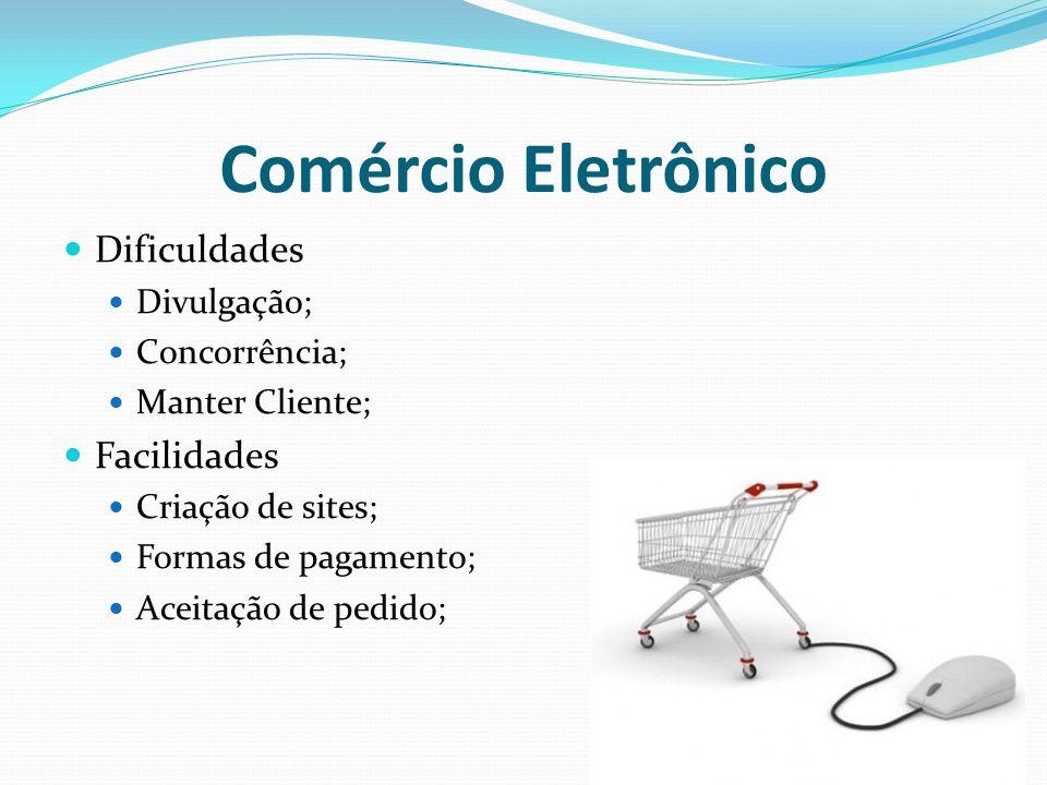 Comércio Eletrônico Dificuldades Divulgação; Concorrência; Manter Cliente; Facilidades Criação de sites; Formas de pagamento; Aceitação de pedido;