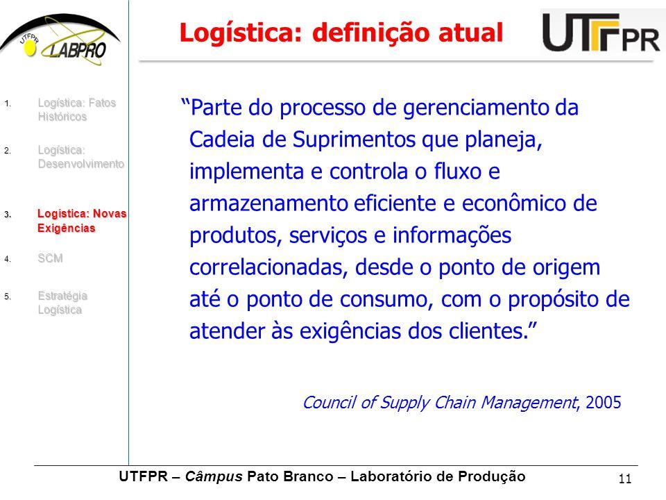 """11 UTFPR – Câmpus Pato Branco – Laboratório de Produção Logística: definição atual """"Parte do processo de gerenciamento da Cadeia de Suprimentos que pl"""