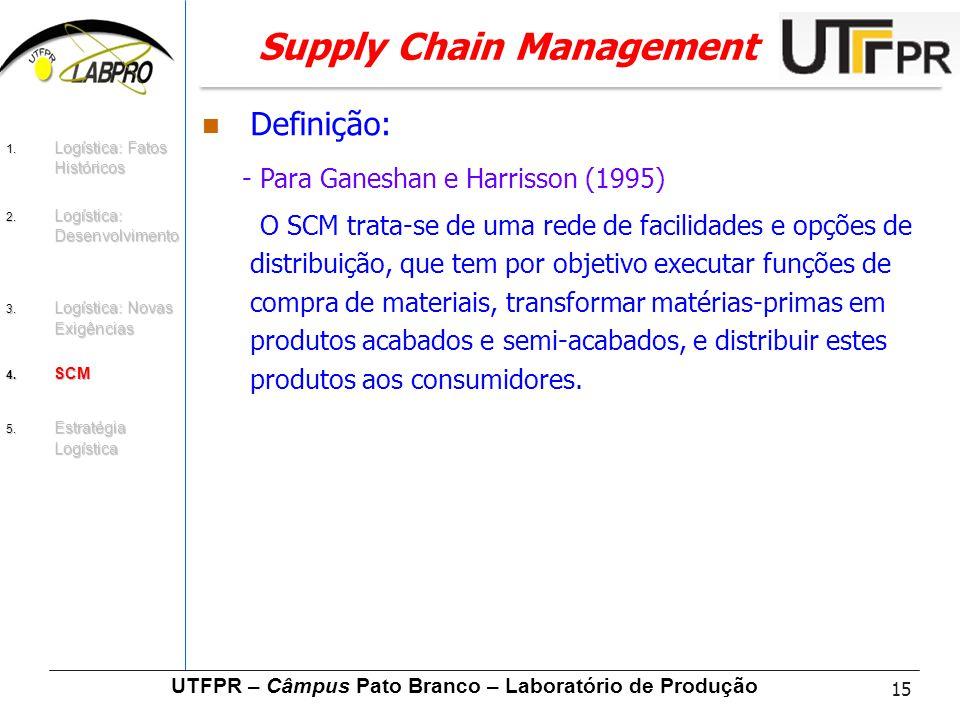 15 UTFPR – Câmpus Pato Branco – Laboratório de Produção Supply Chain Management Definição: - Para Ganeshan e Harrisson (1995) O SCM trata-se de uma re