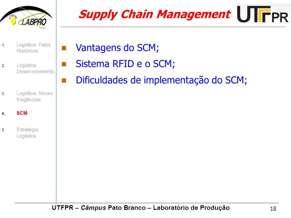18 UTFPR – Câmpus Pato Branco – Laboratório de Produção Supply Chain Management Vantagens do SCM; Sistema RFID e o SCM; Dificuldades de implementação