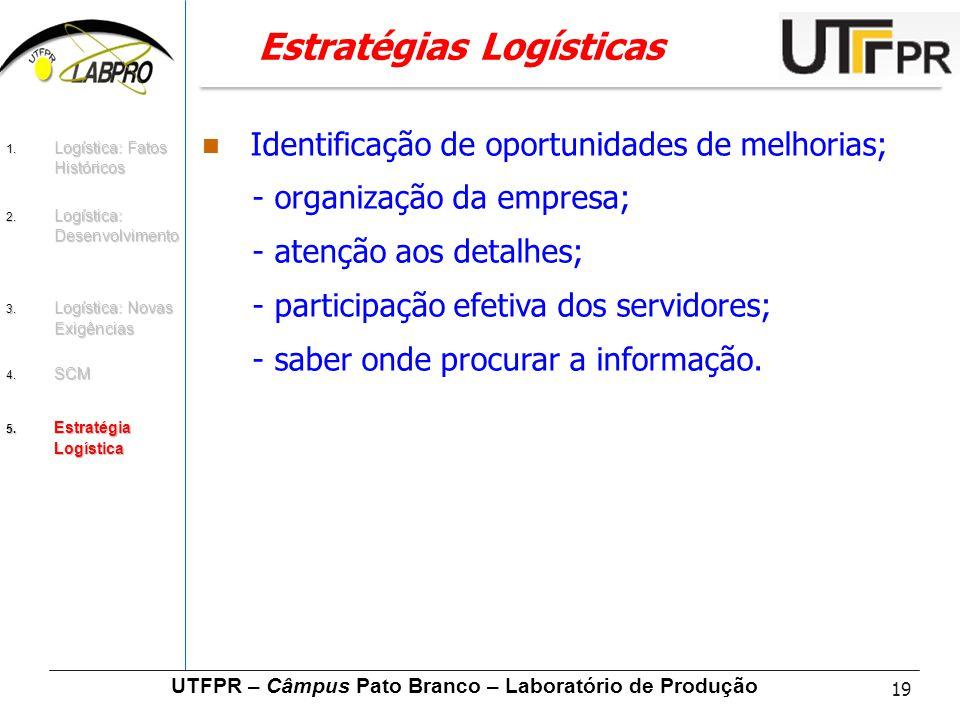 19 UTFPR – Câmpus Pato Branco – Laboratório de Produção Estratégias Logísticas Identificação de oportunidades de melhorias; - organização da empresa;