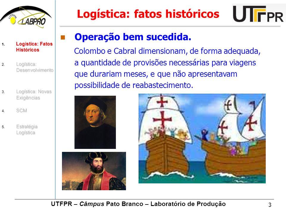 3 UTFPR – Câmpus Pato Branco – Laboratório de Produção Logística: fatos históricos Operação bem sucedida. Colombo e Cabral dimensionam, de forma adequ