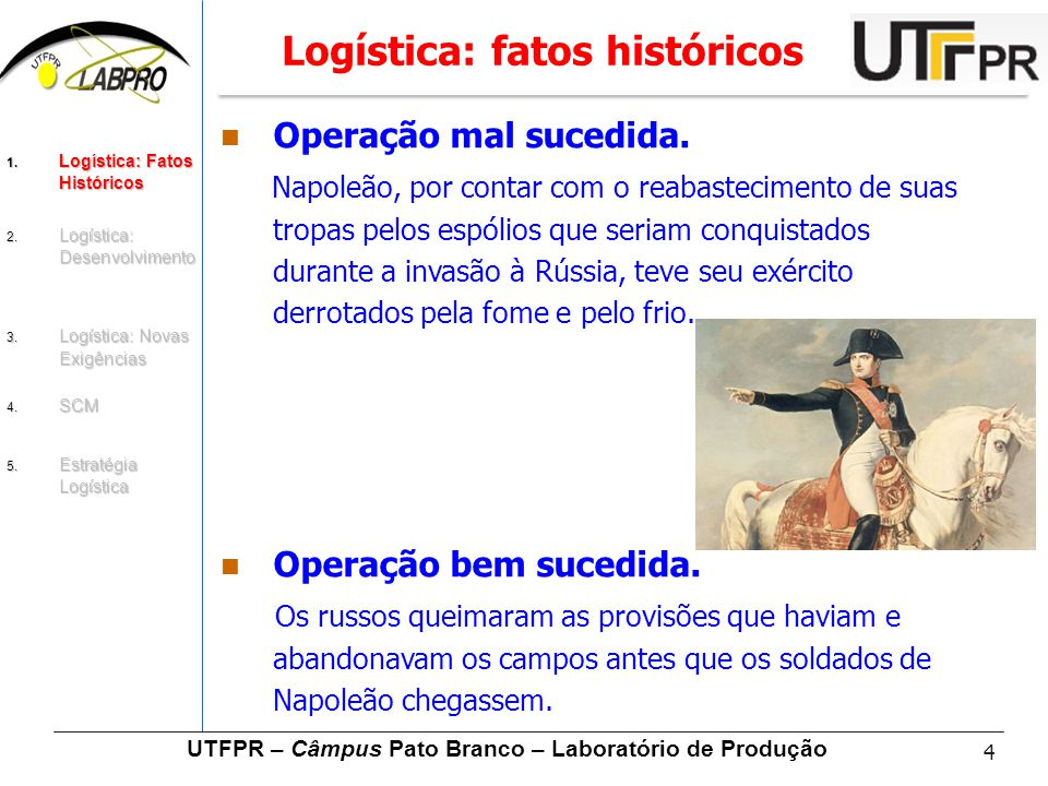 4 UTFPR – Câmpus Pato Branco – Laboratório de Produção Logística: fatos históricos Operação mal sucedida. Napoleão, por contar com o reabastecimento d