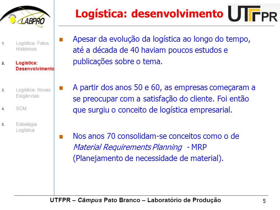 5 UTFPR – Câmpus Pato Branco – Laboratório de Produção Logística: desenvolvimento Apesar da evolução da logística ao longo do tempo, até a década de 4