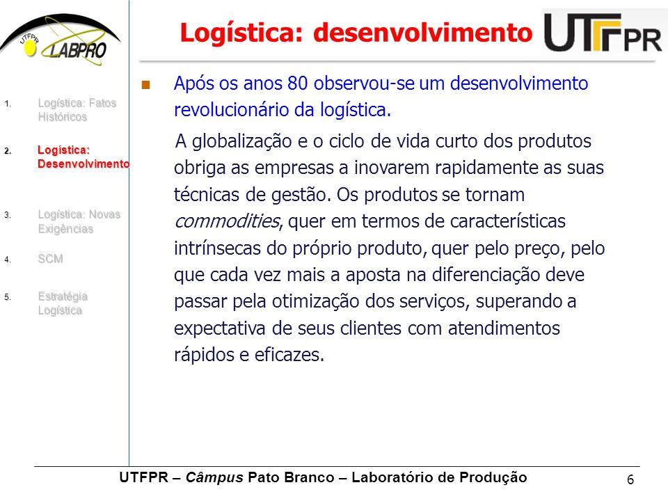 6 UTFPR – Câmpus Pato Branco – Laboratório de Produção Logística: desenvolvimento Após os anos 80 observou-se um desenvolvimento revolucionário da log