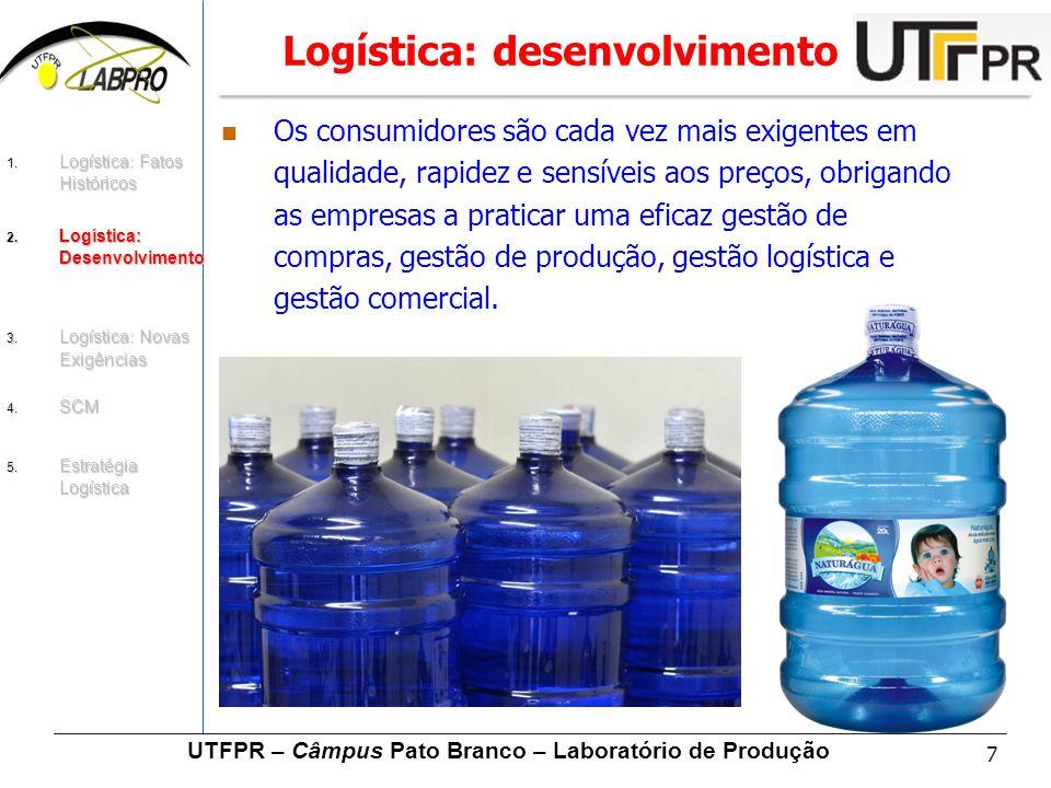 7 UTFPR – Câmpus Pato Branco – Laboratório de Produção Logística: desenvolvimento Os consumidores são cada vez mais exigentes em qualidade, rapidez e