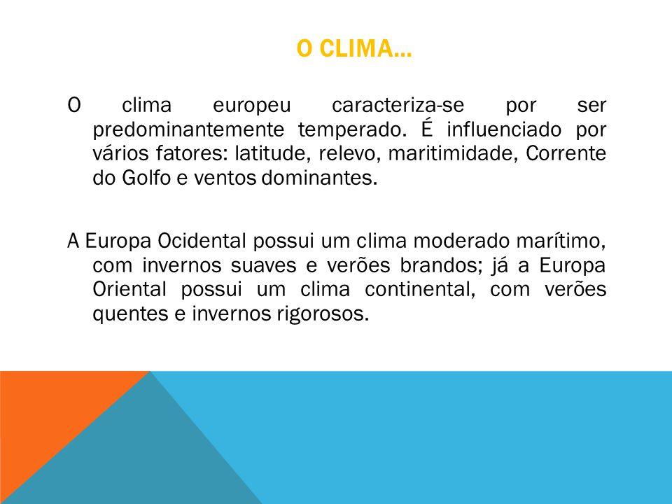 O CLIMA... O clima europeu caracteriza-se por ser predominantemente temperado. É influenciado por vários fatores: latitude, relevo, maritimidade, Corr