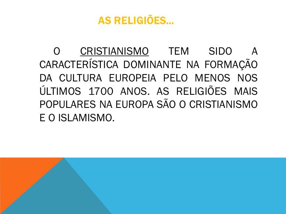 AS RELIGIÕES... O CRISTIANISMO TEM SIDO A CARACTERÍSTICA DOMINANTE NA FORMAÇÃO DA CULTURA EUROPEIA PELO MENOS NOS ÚLTIMOS 1700 ANOS. AS RELIGIÕES MAIS