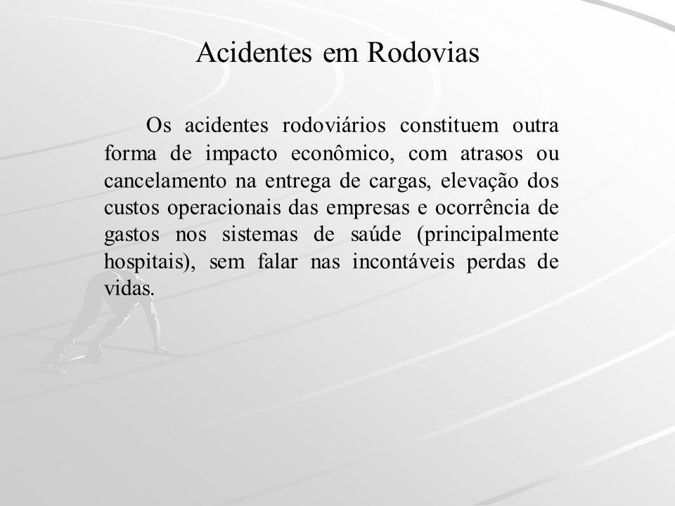 Acidentes em Rodovias Os acidentes rodoviários constituem outra forma de impacto econômico, com atrasos ou cancelamento na entrega de cargas, elevação