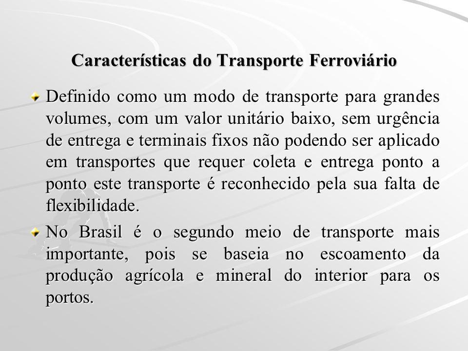 Características do Transporte Ferroviário Definido como um modo de transporte para grandes volumes, com um valor unitário baixo, sem urgência de entre