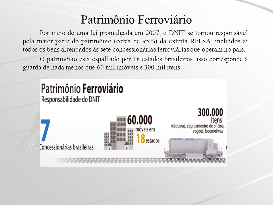 Patrimônio Ferroviário Por meio de uma lei promulgada em 2007, o DNIT se tornou responsável pela maior parte do patrimônio (cerca de 95%) da extinta R