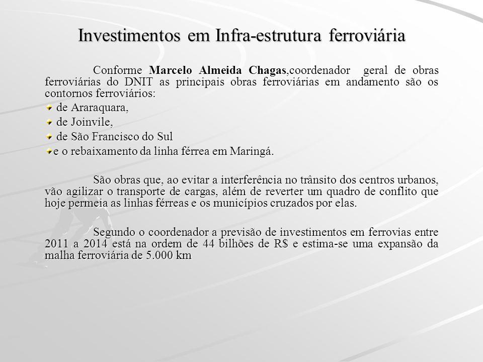 Investimentos em Infra-estrutura ferroviária Conforme Marcelo Almeida Chagas,coordenador geral de obras ferroviárias do DNIT as principais obras ferro