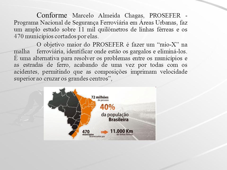 Conforme Marcelo Almeida Chagas, PROSEFER - Programa Nacional de Segurança Ferroviária em Áreas Urbanas, faz um amplo estudo sobre 11 mil quilômetros