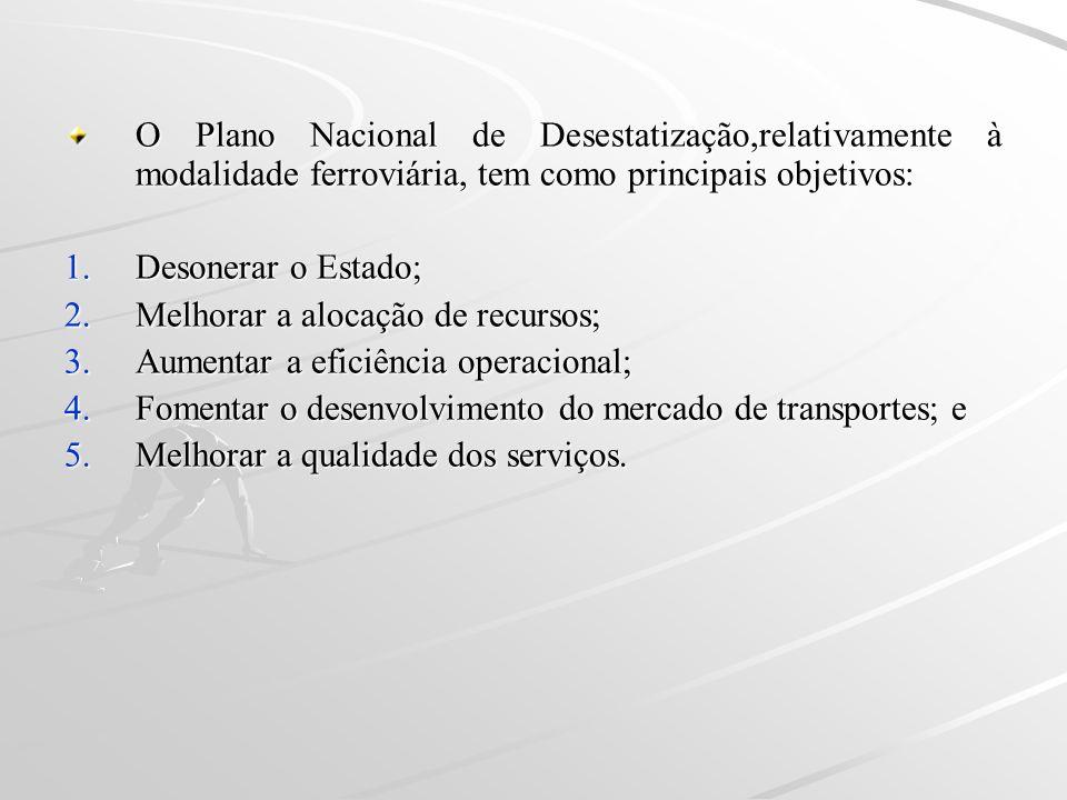 O Plano Nacional de Desestatização,relativamente à modalidade ferroviária, tem como principais objetivos: 1.Desonerar o Estado; 2.Melhorar a alocação