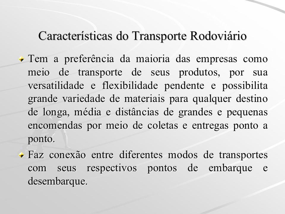 Características do Transporte Rodoviário Tem a preferência da maioria das empresas como meio de transporte de seus produtos, por sua versatilidade e f