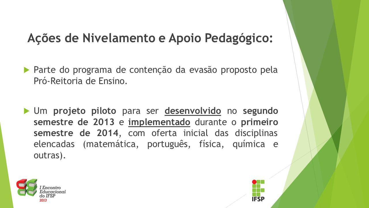 Ações de Nivelamento e Apoio Pedagógico:  Parte do programa de contenção da evasão proposto pela Pró-Reitoria de Ensino.  Um projeto piloto para ser