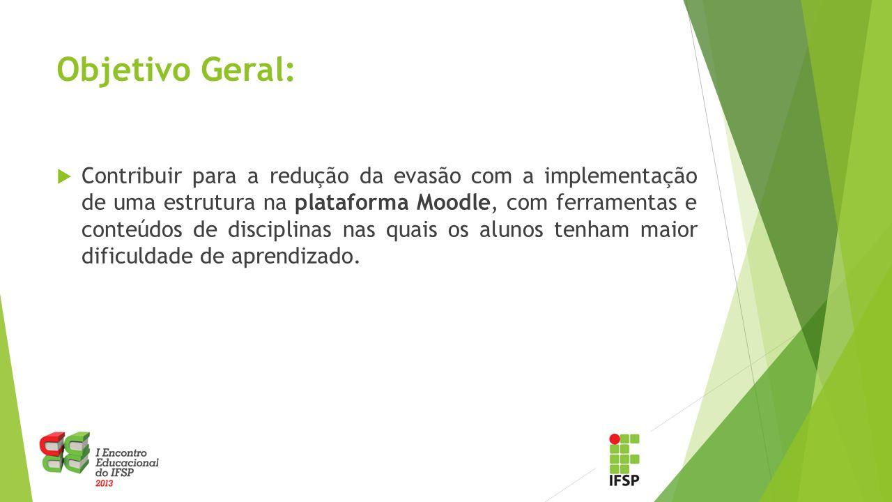 Objetivo Geral:  Contribuir para a redução da evasão com a implementação de uma estrutura na plataforma Moodle, com ferramentas e conteúdos de discip