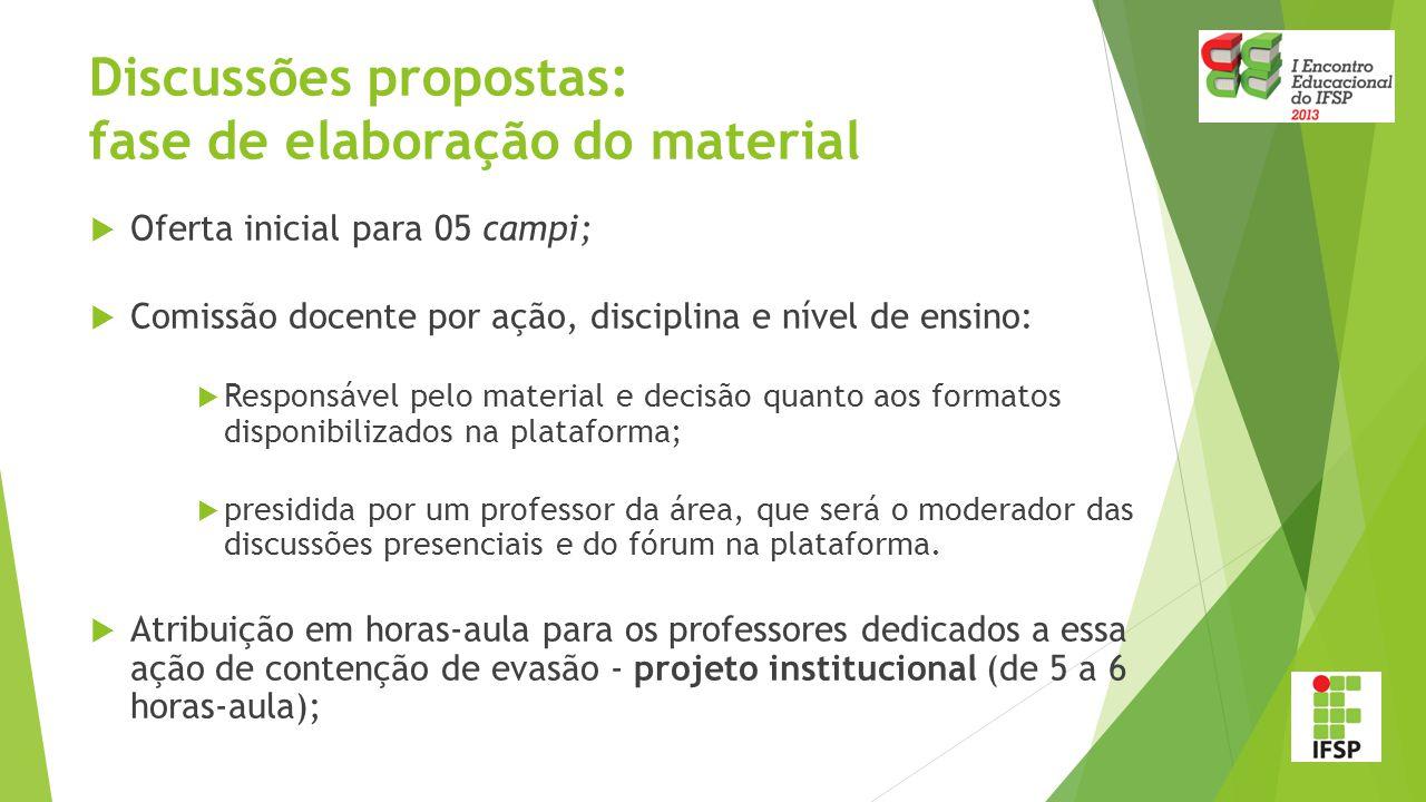 Discussões propostas: fase de elaboração do material  Oferta inicial para 05 campi;  Comissão docente por ação, disciplina e nível de ensino:  Resp