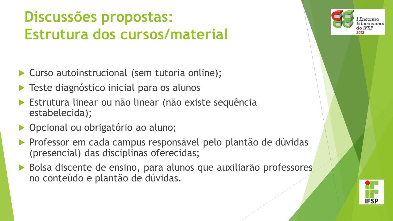  Curso autoinstrucional (sem tutoria online);  Teste diagnóstico inicial para os alunos  Estrutura linear ou não linear (não existe sequência estab