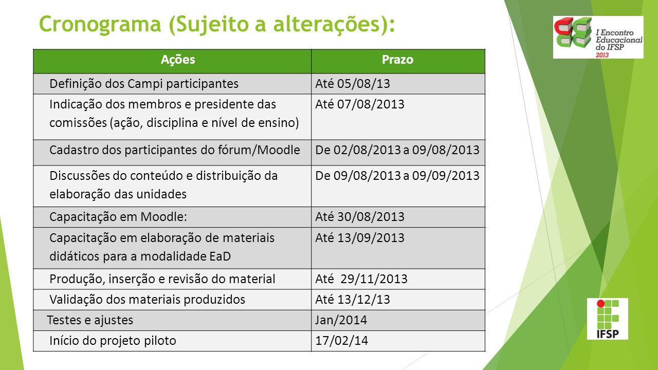Cronograma (Sujeito a alterações): AçõesPrazo Definição dos Campi participantesAté 05/08/13 Indicação dos membros e presidente das comissões (ação, di