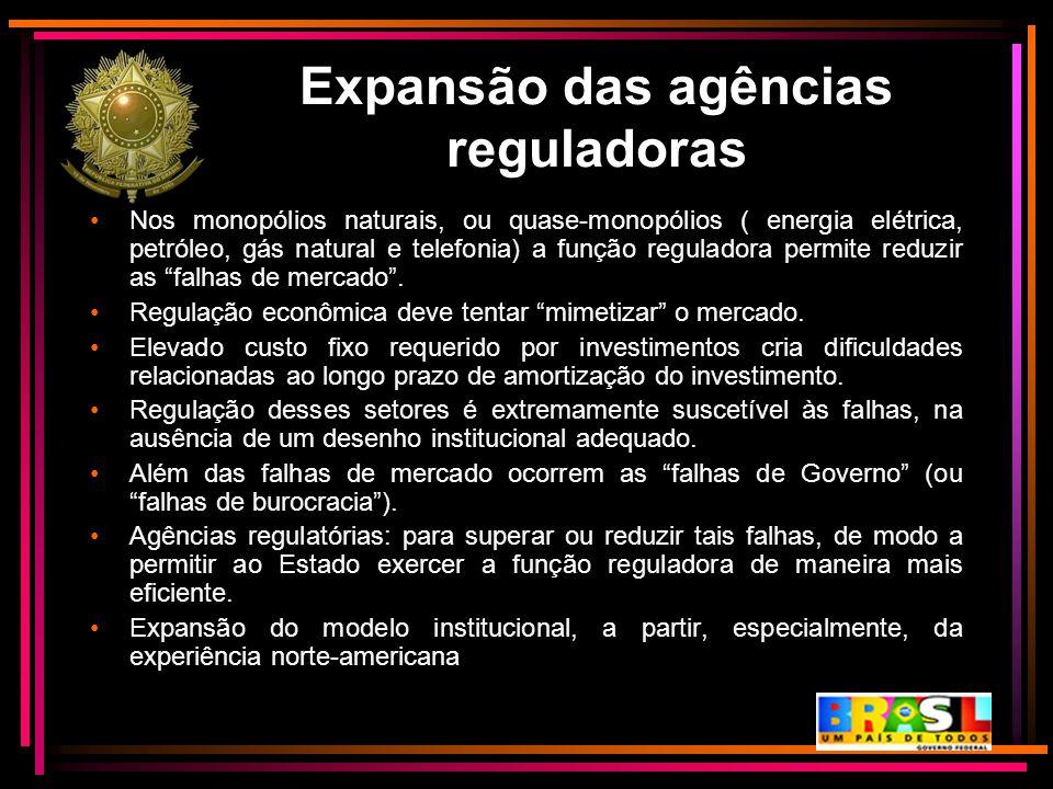 Expansão das agências reguladoras Nos monopólios naturais, ou quase-monopólios ( energia elétrica, petróleo, gás natural e telefonia) a função regulad